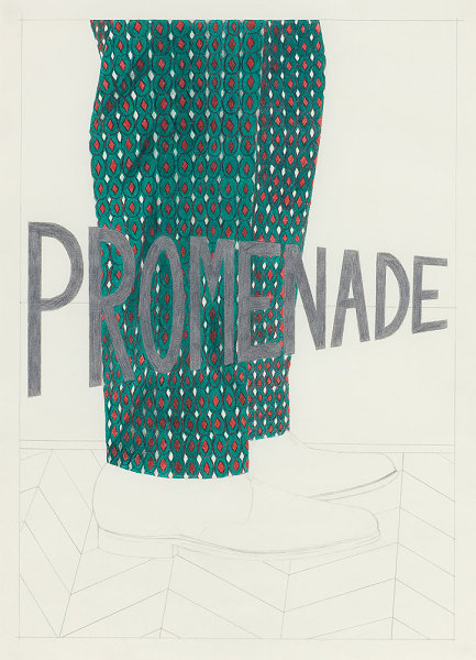 Promenade- Dries Van Noten Trousers, coloured pencil drawing, 42 x 59.4cm, 2010. photo credit Ruth Clark
