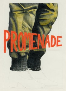 Promenade- Gold Travellers Trousers, coloured pencil drawing, 42 x 59.4cm, 2010. photo credit Ruth Clark