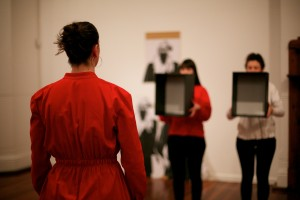 Nina, Sarah and Tanya pause and reflect- opening performance, 2012