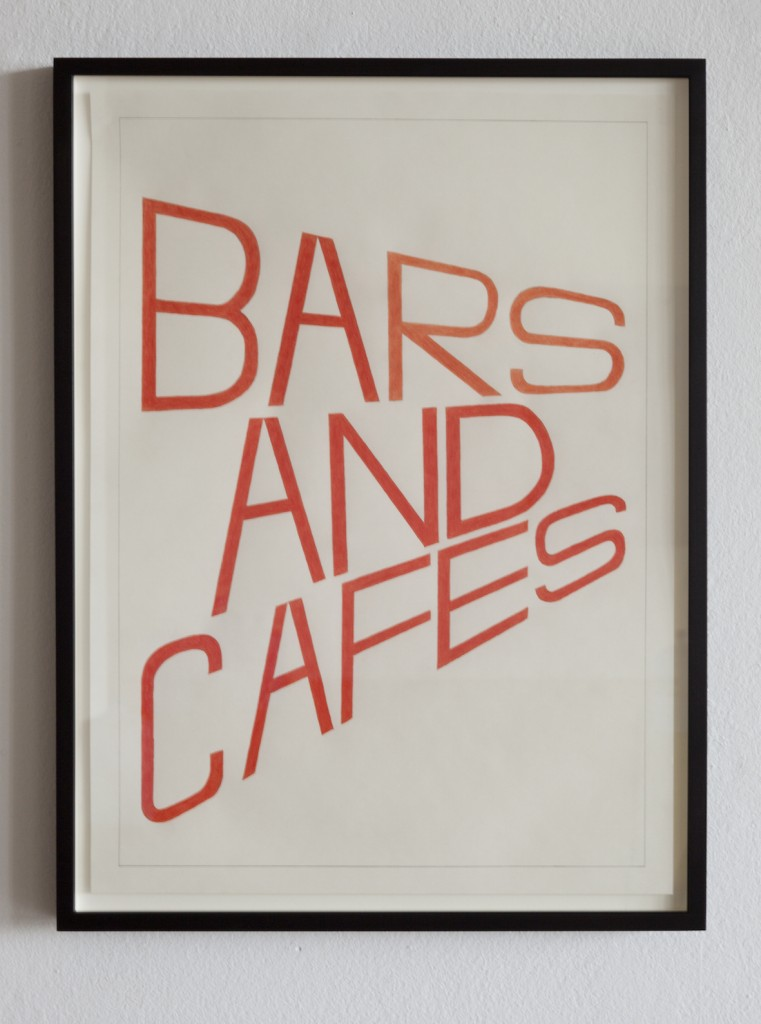 BARS AND CAFES, coloured pencil drawing, 42 x 59.4cm, 2015, at BARS AND CAFES, Haubrok Foundation, Berlin